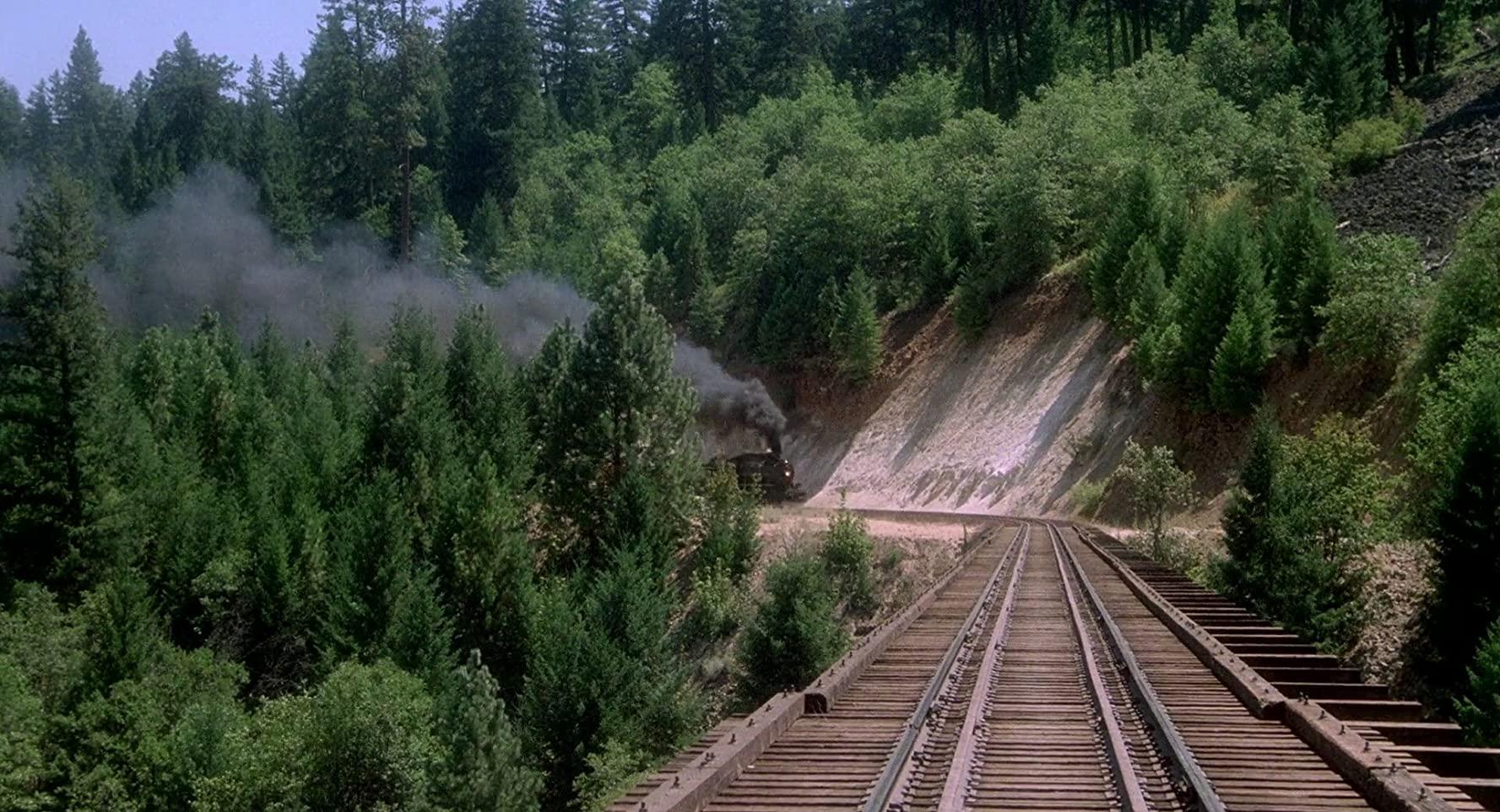 鉄橋の上で列車にひかれそうになるシーン